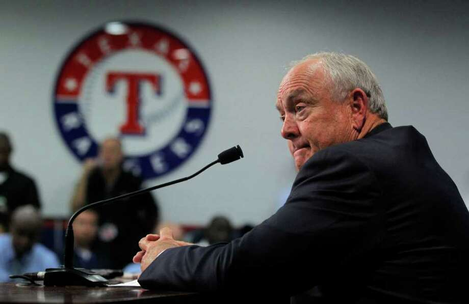 Texas Rangers CEO and President Nolan Ryan talks to reporters on Friday, July 8, 2011, about the death of firefighter Shannon Stone, who fell over a rail while reaching for a ball tossed into the stands by left fielder Josh Hamilton at Rangers Ballpark in Arlington, Texas, during the game Thursday night. (Rodger Mallison/Fort Worth Star-Telegram/MCT) Photo: Rodger Mallison, MBR / Fort Worth Star-Telegram