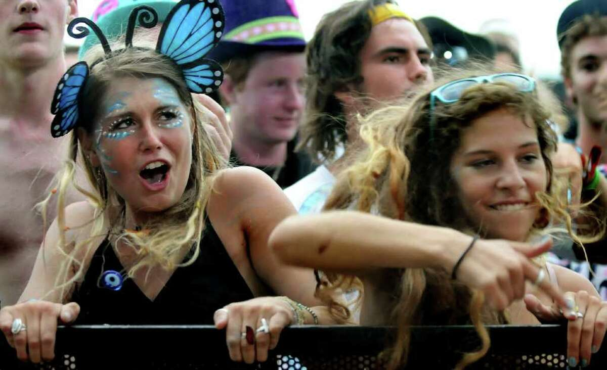 Fans listen to Conspirator perform on one of the main stages at Camp Bisco on Friday, July 8, 2011, in Pattersonville, N.Y. (Cindy Schultz / Times Union)