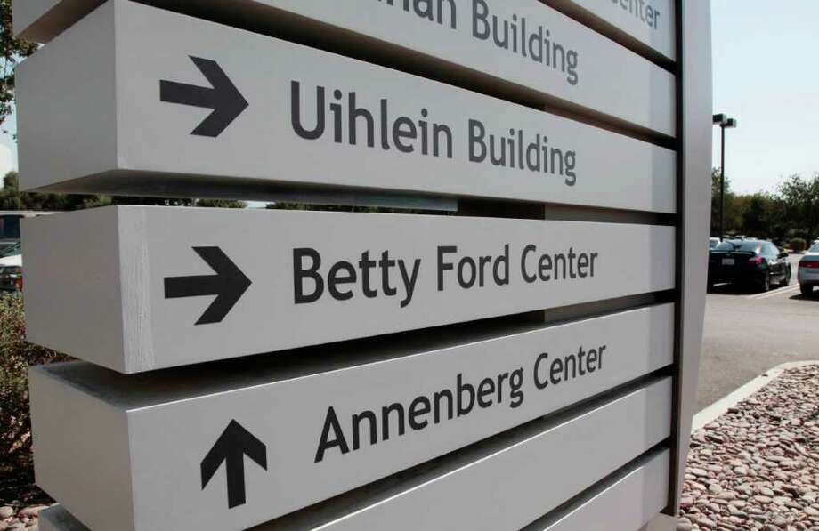 A sign for the Betty Ford Center at the Eisenhower Medical Center in Rancho Mirage, Calif., on Saturday, July 9, 2011. The former First Lady died on Friday, July 8.    Ford, the former first lady whose triumph over drug and alcohol addiction became a beacon of hope for addicts and the inspiration for her Betty Ford Center in California.   (AP Photo/Francis Specker) Photo: Francis Specker, FRE / FR123675 AP