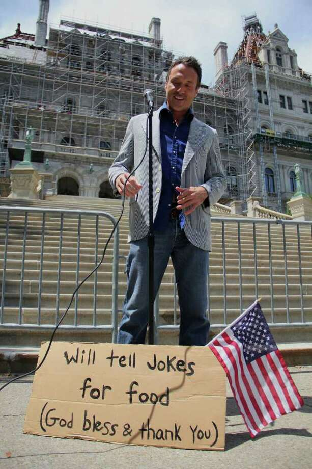 Greg Aidala, of Albany, at the state capitol building in Albany on Thursday, June 30, 2011. Aidala is celebrating 10 years of performing and producing stand up comedy. (Erin Colligan / Special To The Times Union)