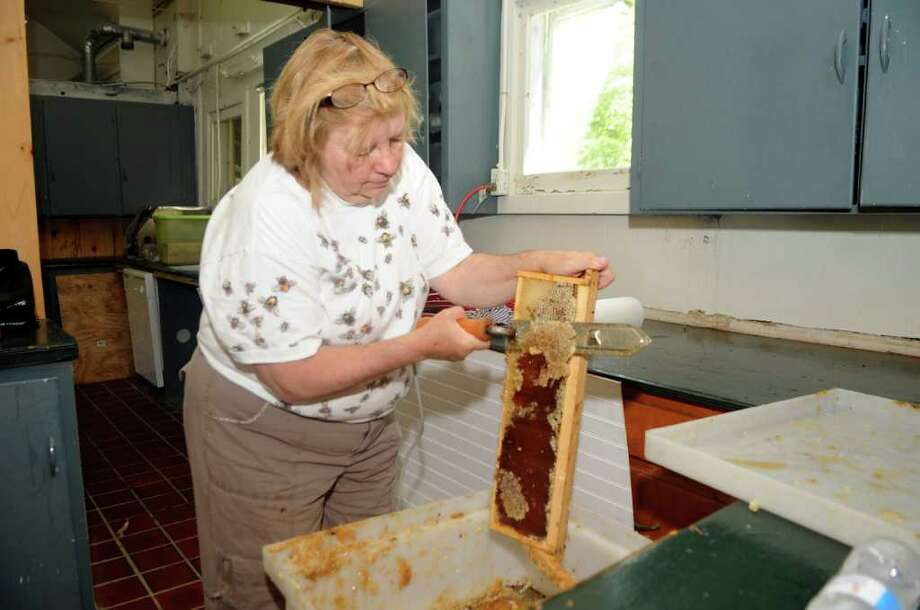 Ellen Zampino, of Riverside, a master beekeeper, and member of the Backyard Beekeepers Association, cuts wax off the comb so the honey could be extracted at Audubon Greenwich on Sunday, July 10, 2011. Photo: Helen Neafsey / Greenwich Time