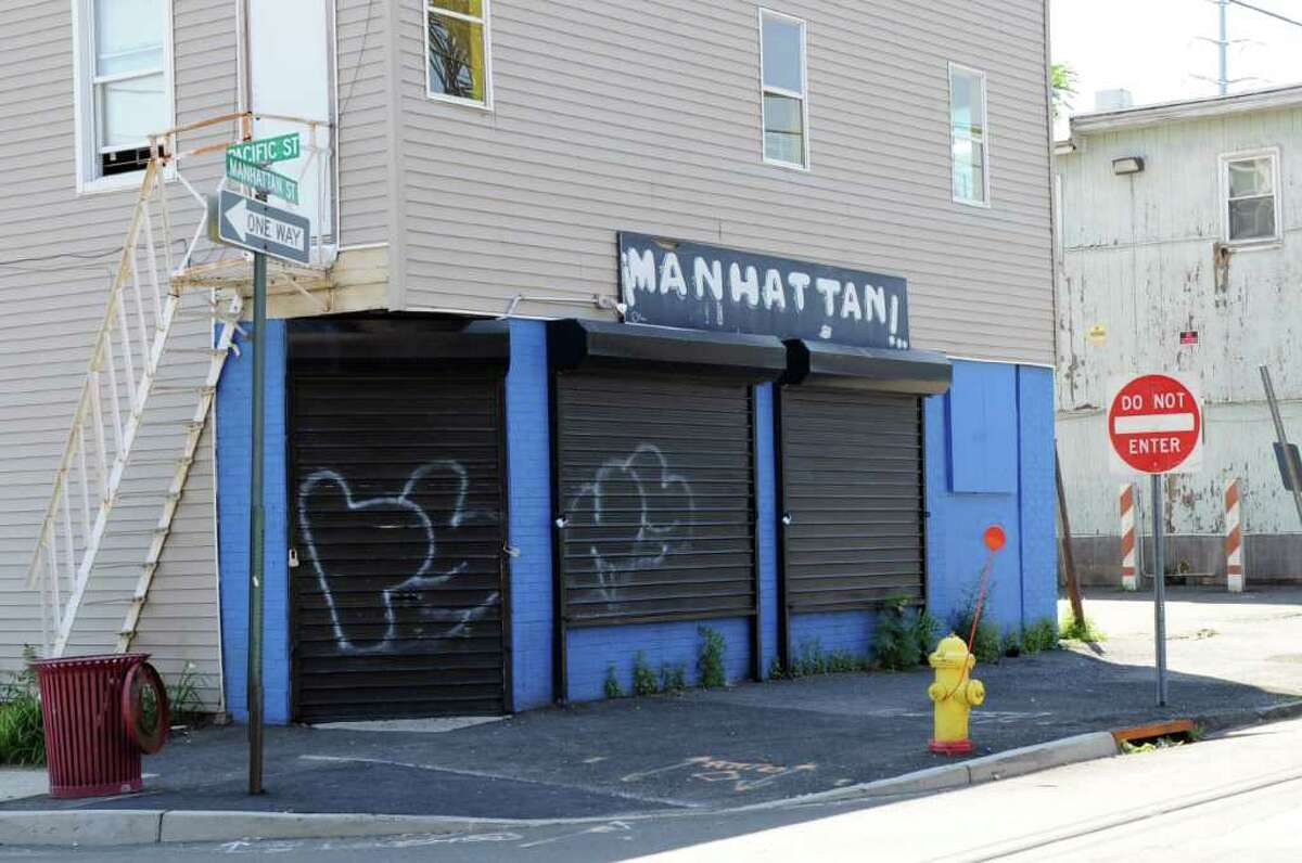 The strip club Manhattan on the corner of Manhattan and Pacific Streets was the scene of a fatality in Stamford, Conn., July 10, 2011.