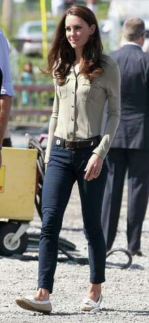 Kate proves she knows how to keep it casual in J. Brand jeans and sensible flats for a day in rural Yellowknife, Canada.  Photo: Chris Jackson, Getty Images / 2011 Getty Images