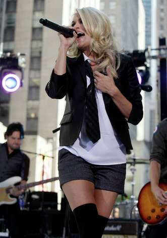 "Carrie Underwood performs on the NBC ""Today"" television program in New York on  Friday, July 30, 2010. Photo: AP"