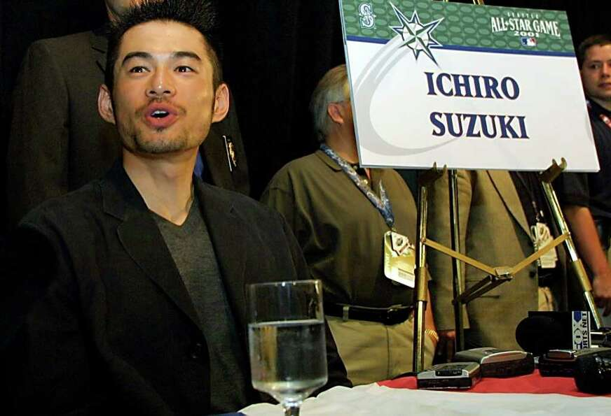 SEATTLE, WA - JULY 9:  Seattle Mariners' Ichiro Suzuki of Japan talks to the media during a press co