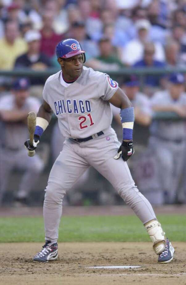 10 Jul 2001:  Sammy Sosa of the Chicago Cubs bats during the 2001 Major League Baseball All-Star game at Safeco Field in Seattle, Washington, won by the American League 4-1. DIGITAL IMAGE Mandatory  Credit: Otto Gruele/Allsport Photo: Otto Greule Jr, Getty Images / Getty Images North America