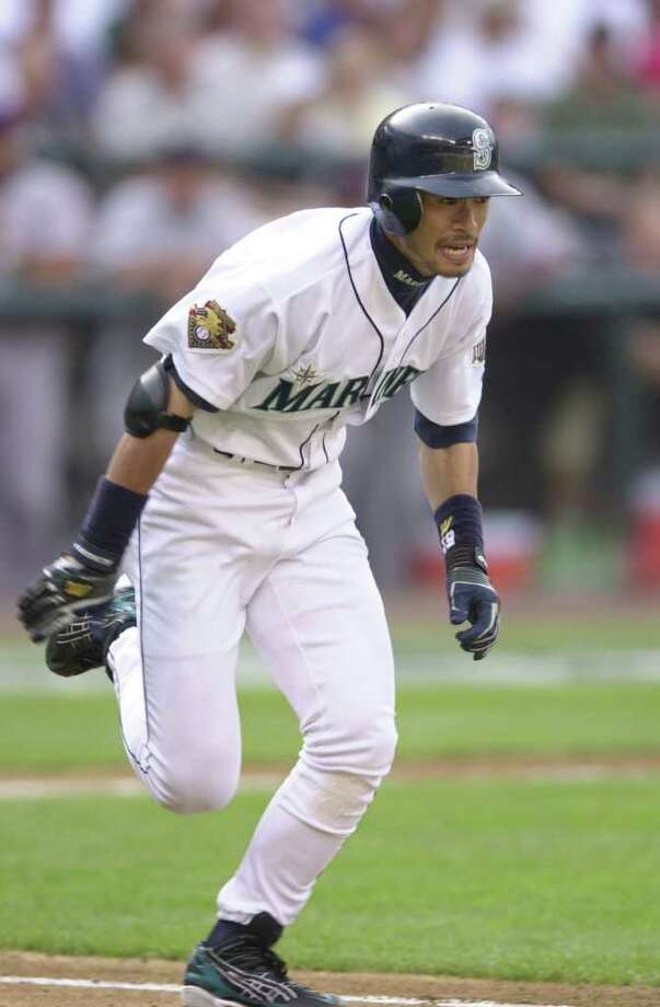 10 Jul 2001:  Ichiro Suzuki of the Seattle Mariners runs to first base on his way to an infield single during the 2001 Major League Baseball All-Star game at Safeco Field in Seattle, Washington, won by the American League 4-1. DIGITAL IMAGE Mandatory  Credit: Otto Gruele/Allsport Photo: Otto Greule Jr, Getty Images / Getty Images North America