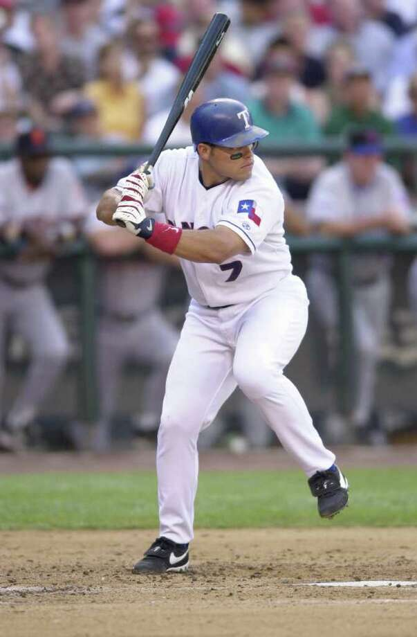 10 Jul 2001: Ivan Rodriguez of the Texas Rangers bats during the 2001 Major League Baseball All-Star game at Safeco Field in Seattle, Washington, won by the American League 4-1. DIGITAL IMAGE Mandatory  Credit: Otto Gruele/Allsport Photo: Otto Greule Jr, Getty Images / Getty Images North America