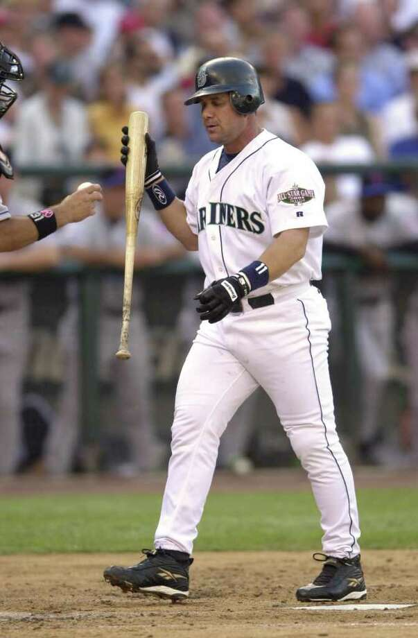 10 Jul 2001:   Edgar Martinez of the Seattle Mariners walks away from the plate after striking out during the 2001 Major League Baseball All-Star game at Safeco Field in Seattle, Washington, won by the American League 4-1. DIGITAL IMAGE Mandatory  Credit: Otto Gruele/Allsport Photo: Otto Greule Jr, Getty Images / Getty Images North America