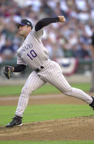 10 Jul 2001:  Mike Hampton of the Colorado Rockies pitches  during the 2001 Major League Baseball Al