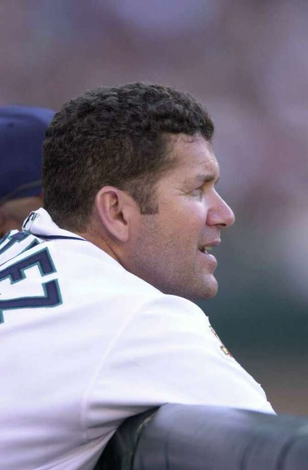 10 Jul 2001:  Edgar Martinez of the Seattle Mariners watches the action from the American League dugout during the 2001 Major League Baseball All-Star game at Safeco Field in Seattle, Washington, won by the American League 4-1. DIGITAL IMAGE Mandatory  Credit: Otto Gruele/Allsport Photo: Otto Greule Jr, Getty Images / Getty Images North America