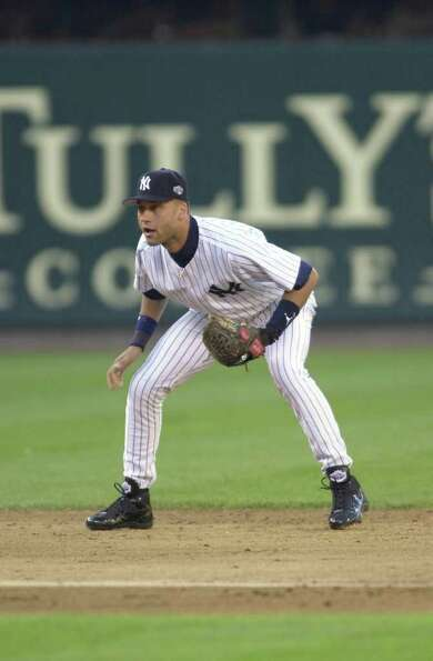10 Jul 2001:  Derek Jeter of the New York Yankees plays shortstop during the 2001 Major League Baseb
