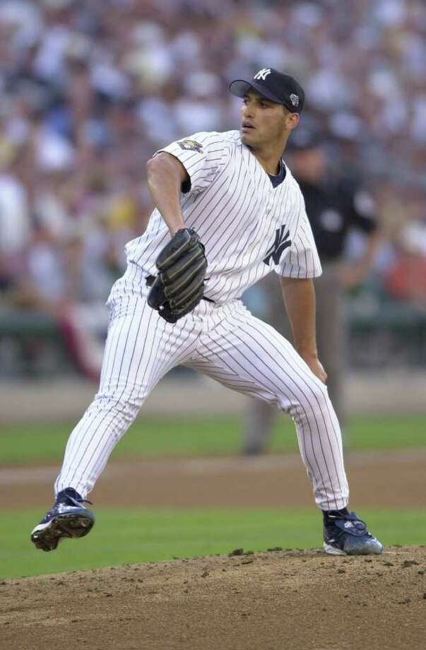 10 Jul 2001:  Andy Pettitte of the New York Yankees pitches during the 2001 Major League Baseball All-Star game at Safeco Field in Seattle, Washington, won by the American League 4-1. DIGITAL IMAGE Mandatory  Credit: Otto Gruele/Allsport Photo: Otto Greule Jr, Getty Images / Getty Images North America