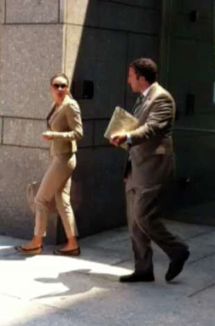 New York City socialite Beata Boman appeared in court Monday, July 11, 2011 on a first-degree larceny charge for the alleged theft of an $11,000 fur stole from Richards of Greenwich. Her next court date is Aug. 8. Photo: Frank MacEachern / Greenwich Time