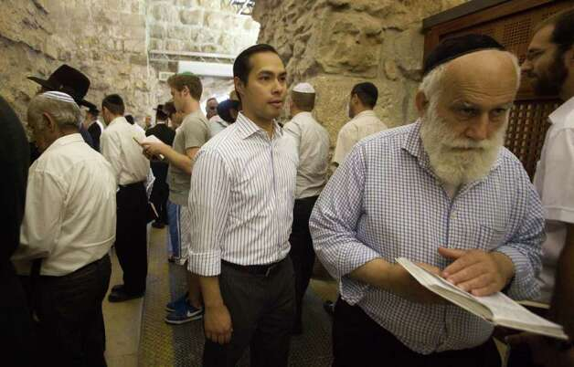 San Antonio, Texas mayor Julian Castro, center, visits Jerusalem's Old city, Monday, July 11, 2011. (AP Photos/Dan Balilty) Photo: Dan Balilty, Express-News / AP
