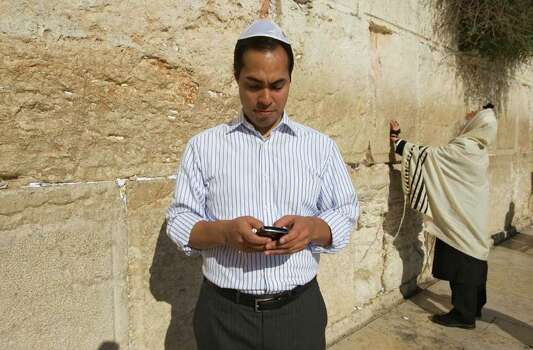 San Antonio, Texas mayor Julian Castro stands at Western Wall, the holiest site where Jews can pray, during his visit of Jerusalem's Old city, Monday, July 11, 2011. (AP Photos/Dan Balilty) Photo: Express-News