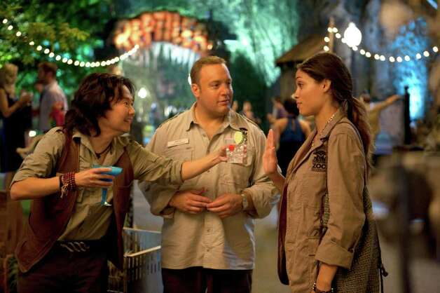 "In this film publicity image released by Columbia Pictures, from left, Ken Jeong, Kevin James and Rosario Dawson are shown in a scene from ""Zookeeper."" (AP Photo/Columbia Pictures-Sony, Tracy Bennett) Photo: Tracy Bennett, ASSOCIATED PRESS / AP2009"