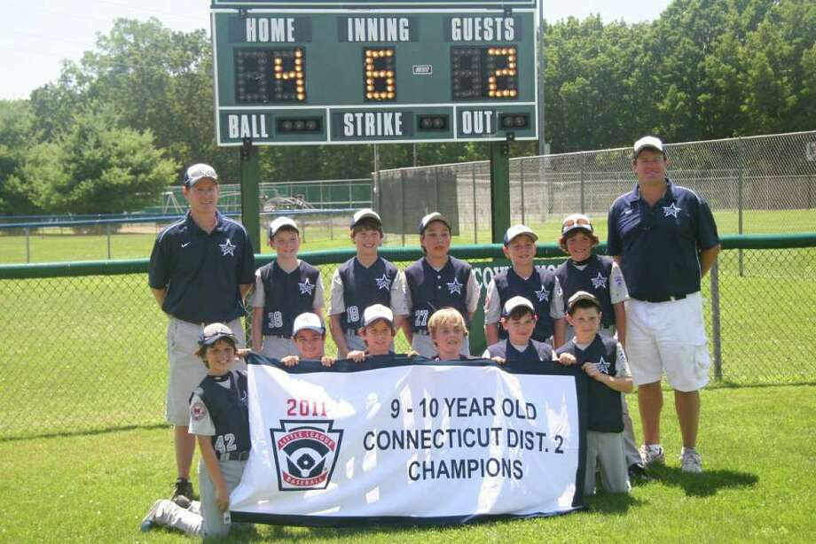 The Westport Little League 10 year old All-Star team won the Connecticut District 2 championship with a 4-2 victory over Fairfield American Sunday. Westport finished district play with a 7-0, outscoring opponents, 75-13. Team members front row, from left, are, Alex Reiner, Chris Drbal, Jack Lieder, Matt Stone, Alec Burns and Drew Rogers; back, Head Coach Tim Rogers, Sean Hogan, Harry Azadian, Chad Knight, Will Smith, Max Popken and Assistant Coach Mike Lieder. Assistant Coach Brett Reiner was missing from the photo. Photo: Contributed Photo
