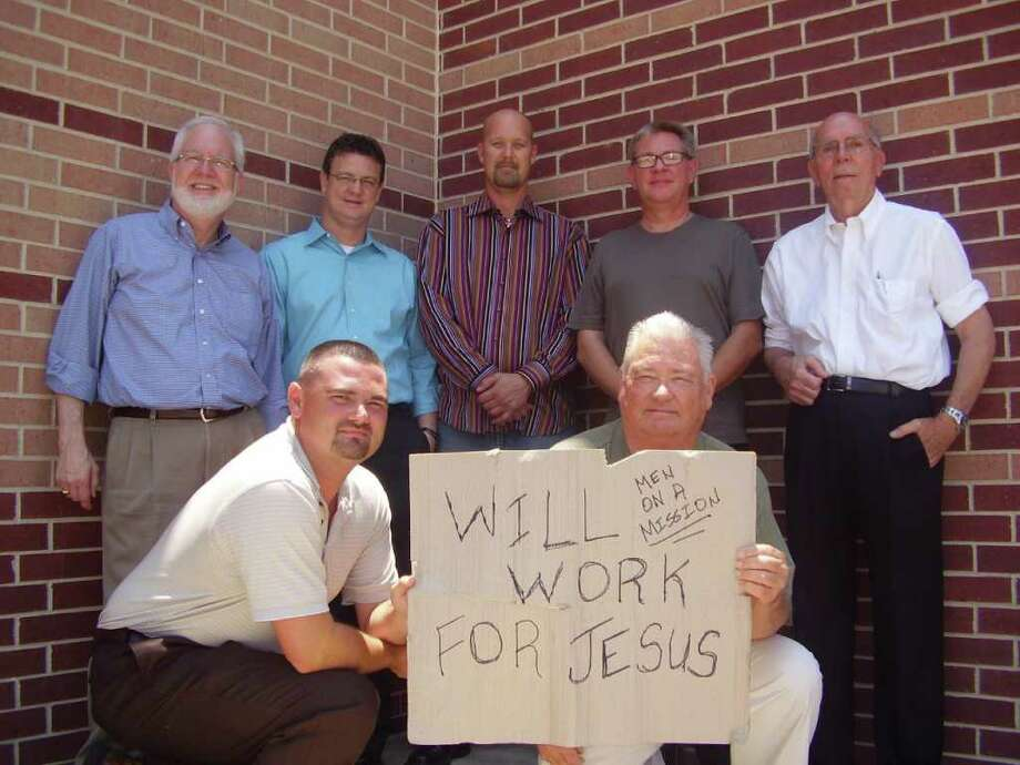 Cutline Info: Kneeling James Cook (left) and Jim Coleman (right). Standing from left: David Brewer, Pastor Scott Knight, Mike Heath, Dwayne Ulrich and Jay Coberley. Not pictured: Travis Heath. Photo: Bryan Kirk