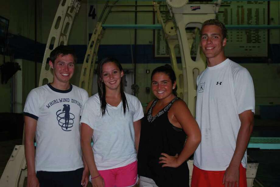Zach Slater (diving), Lauren Kahan (diving), Samantha Salvo (swimming) and Jack Forese (swimming). Photo: Contributed Photo