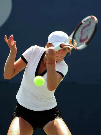 NEW YORK - AUGUST 29:   Ekaterina Makarova of Russia returns a shot against Ai Sugiyama of Japan during day three of the 2007 U.S. Open at the Billie Jean King National Tennis Center on August 29, 2007 in the Flushing neighborhood of the Queens borough of New York City.  (Photo by Elsa/Getty Images) Photo: Elsa, Getty Images / 2007 Getty Images