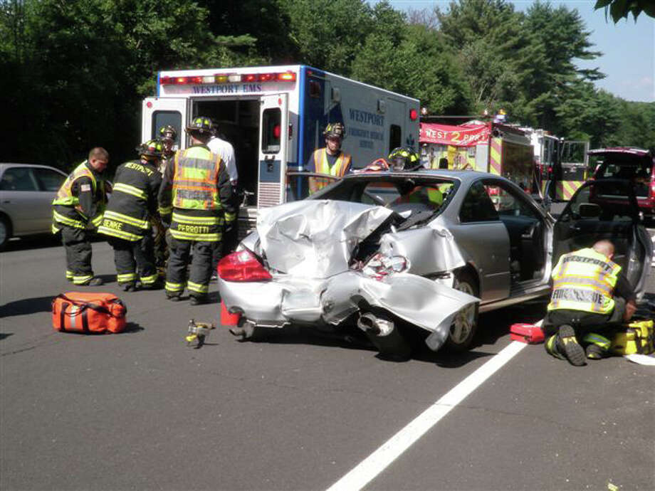 The driver of this Acura was hospitalized after a two-car crash Tuesday afternoon on the Merritt Parkway in Westport. Photo: Contributed Photo/Westport Fire / Westport News contributed
