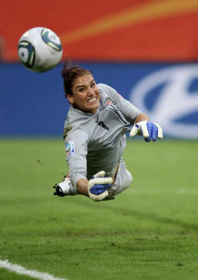 DRESDEN, GERMANY - JULY 10:  Hope Solo of USA saves a penalty during the shoot out during the Women's World Cup Quarter Final match between Brazil and USA at Rudolf-Harbig Stadium on July 10, 2011 in Dresden, Germany.  (Photo by Scott Heavey/Getty Images) Photo: Scott Heavey, Staff / 2011 Getty Images