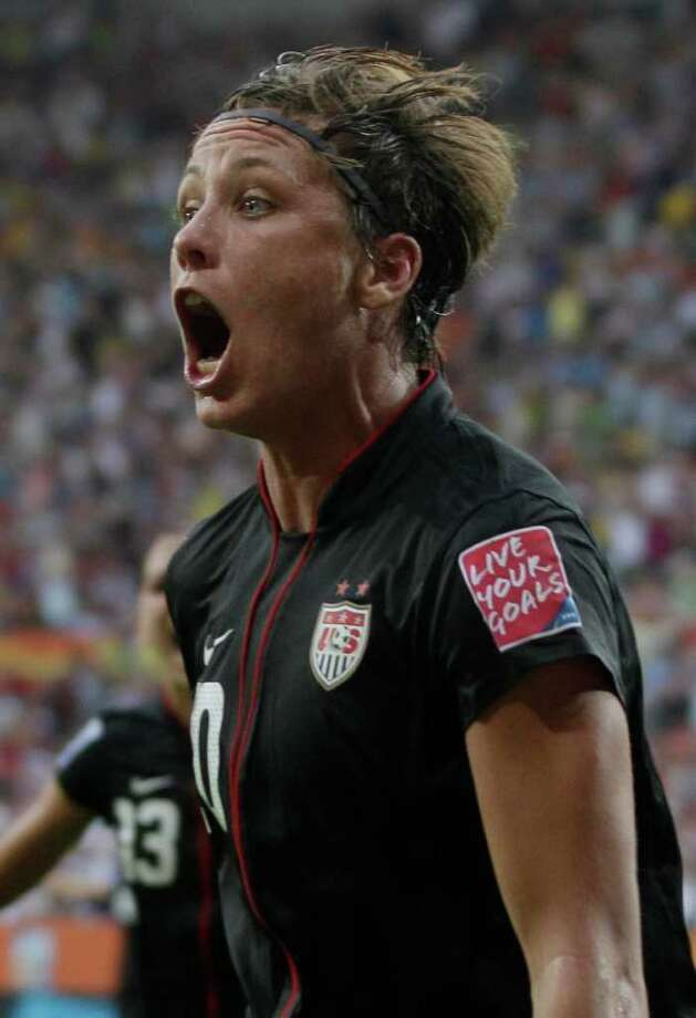 United States' Abby Wambach reacts after scoring her side's second goal during the quarterfinal match between Brazil and the United States at the Women?s Soccer World Cup in Dresden, Germany, Sunday, July 10, 2011. (AP Photo/Marcio Jose Sanchez) Photo: Marcio Jose Sanchez, STF / AP