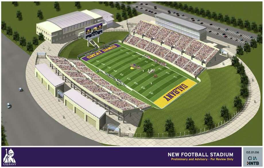 COURTESY UNIVERSITY AT ALBANY ... this is an early look at a possible design for the UAlbany football stadium from 2006.
