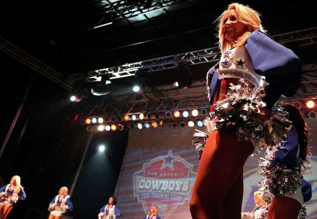FOR SPORTS - Dallas Cowboys Cheerleaders take part in the Cowboys Kickoff Spectacular  Friday July 23, 2010  at the Alamodome. (PHOTO BY EDWARD A. ORNELAS/eaornelas@express-news.net) Photo: EDWARD A. ORNELAS, SAN ANTONIO EXPRESS-NEWS / eaornelas@express-news.net