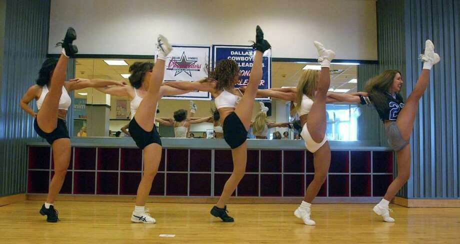 METRO:  The five women who will advance to the regional finals for the Dallas Cowboys Cheerleaders auditions run through the kick routine one last time at  Bally Total Fitness Sunday, March 9, 2003.  The five selected in San Antonio to advance to the regional finals are Cathy Bogaerts, Brandi Hale, Yolanda Rayos, Cheryl Andrews and Tracy Snyder.  (KAREN L. SHAW/STAFF) Photo: KAREN L. SHAW, SAN ANTONIO EXPRESS-NEWS / SAN ANTONIO EXPRESS-NEWS