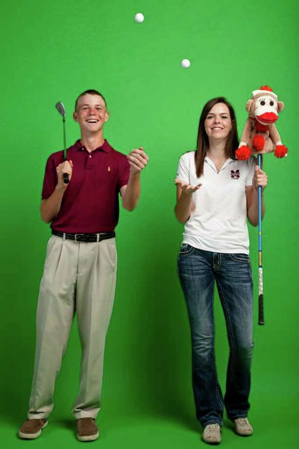 The All Greater Houston boys and girls golfers of the year, Cinco Ranch's Connor Black (left) and Magnoli's Kendall Anderson are photographed in the Houston Chronicle Photo Studio, Thursday, June 9, 2011, in Houston. ( Michael Paulsen / Houston Chronicle ) Photo: Michael Paulsen, Staff / © 2011 Houston Chronicle