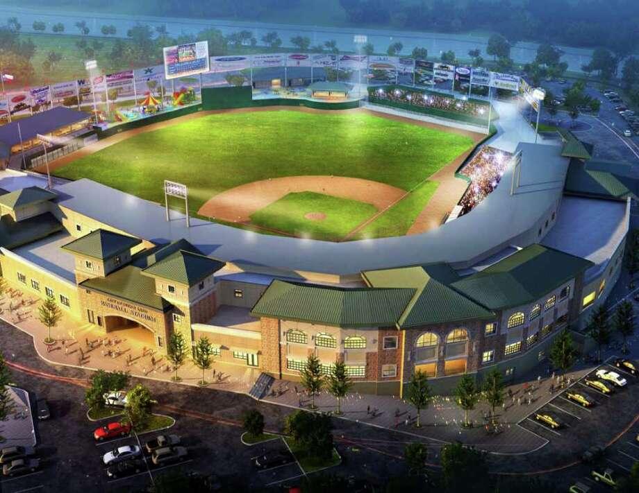 Artist rendering of new Sugar Land minor league baseball stadium Photo: Trish / Courtesy of Sugar Land Skeeters