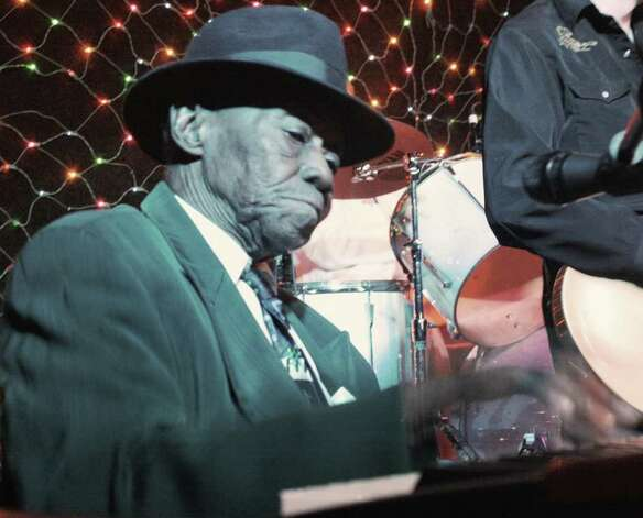 "Blues-piano legend Joe Willie ""Pinetop"" Perkins. Photo: Jim Beal Jr. / Express-News"