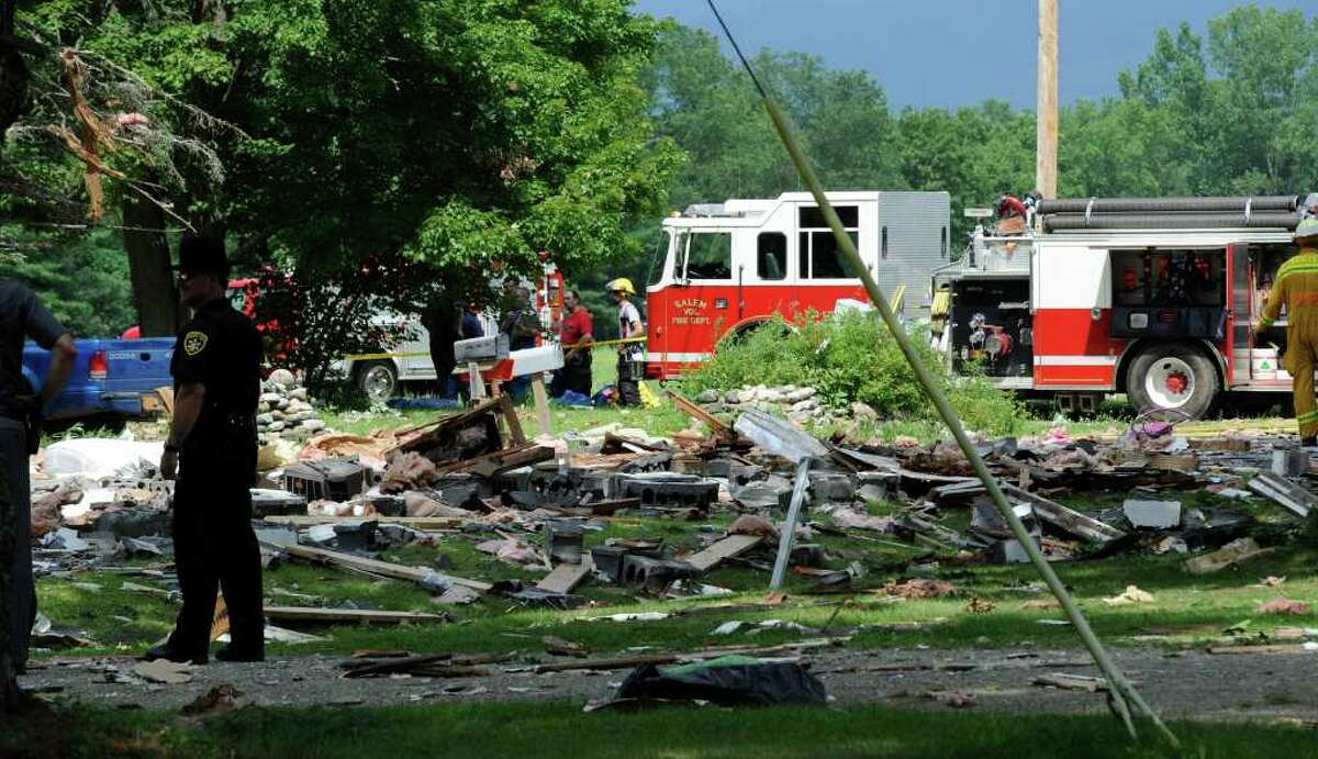The scene of an explosion in Salem, N.Y., on July 13. (Skip Dickstein / Times Union)