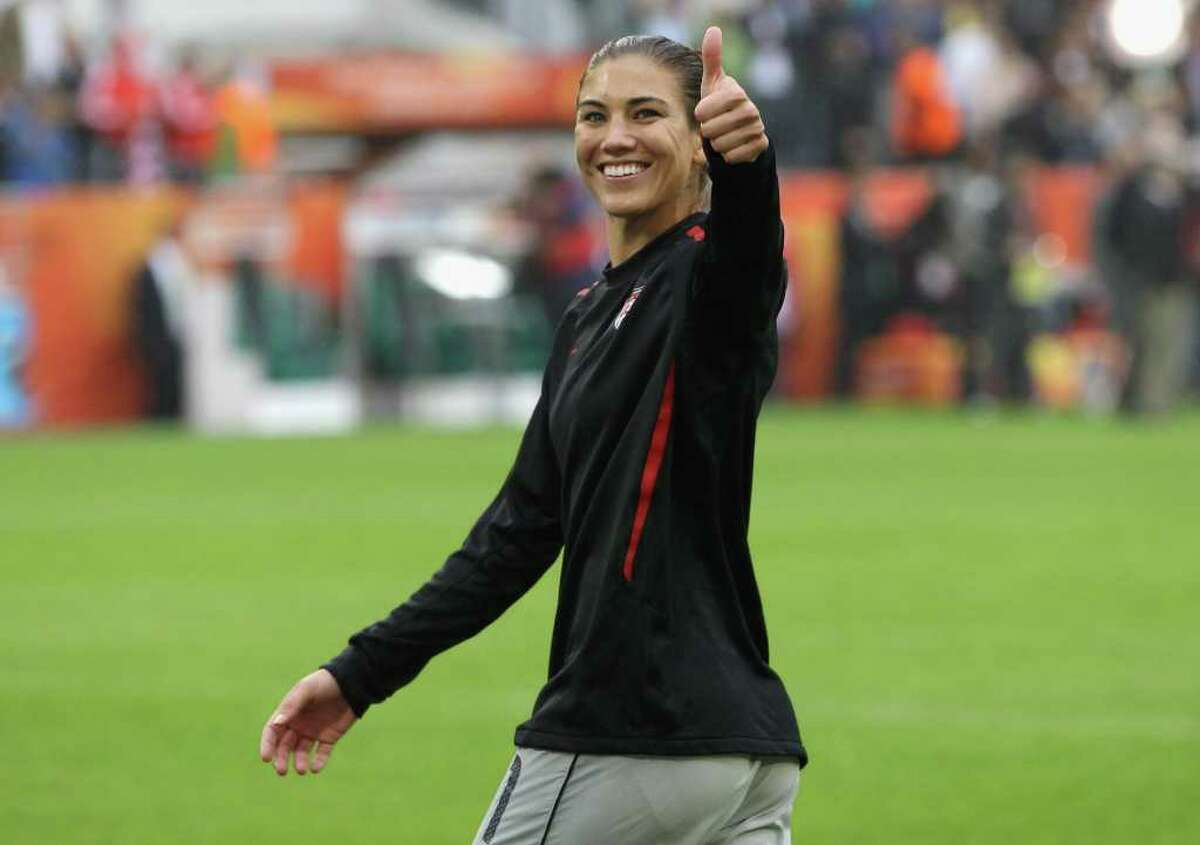 Hope Solo, U.S. goalkeeper,celebrates after the FIFA Women's World Cup 2011 Semi Final match between France and the U.S. at Borussia-Park on Wednesday in Moenchengladbach, Germany.