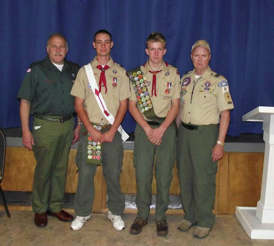 Bob Schachter, Nils Andersson, Traug Keller and Troopmaster Bob Eason stand together for a photo. Photo: Contributed Photo