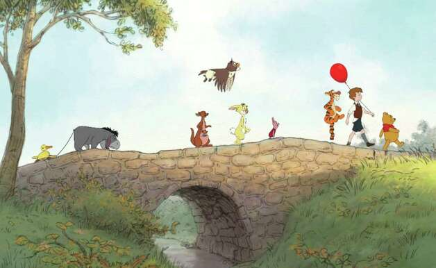 "In this film publicity image released by Disney, animated characters from left, Eeyore, Kanga, Roo, Owl, Rabbit, Piglet, Tigger, Christopher Robin, Winnie the Pooh, are shown in a scene from ""Winnie the Pooh."" (AP Photo/Disney Enterprises, Inc.)"