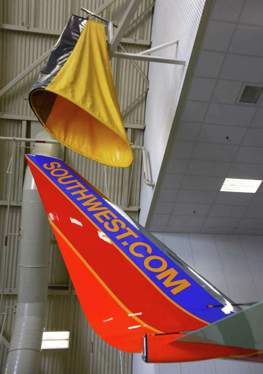 A winglet is shown on a Southwest Airlines 737-700 during a ceremonial opening of Boeing's refurbished paint hangar near its Renton facility on Wednesday, July 13, 2011.