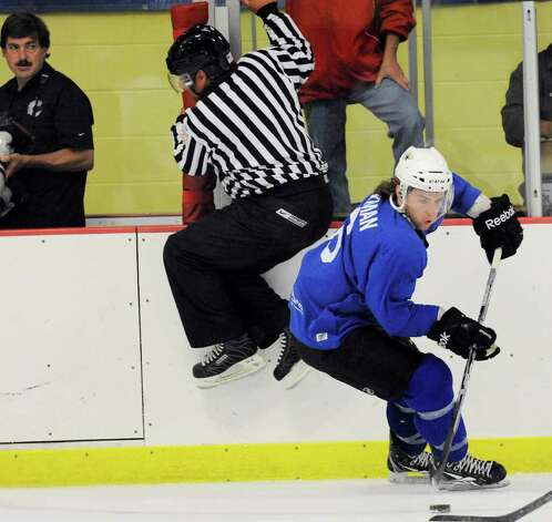 Sean Backman of Team Blue during The Big Assist III hockey game to benefit The Obie Harrington-Howes Foundation at Terry Conners Rink, Stamford, Wednesday night, July 13, 2011. Photo: Bob Luckey / Greenwich Time