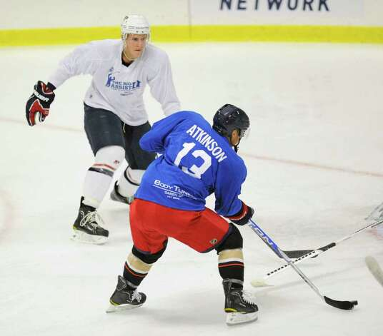 Cam Atkinson of Team Blue during The Big Assist III hockey game to benefit The Obie Harrington-Howes Foundation at Terry Conners Rink, Stamford, Wednesday night, July 13, 2011. Photo: Bob Luckey / Greenwich Time