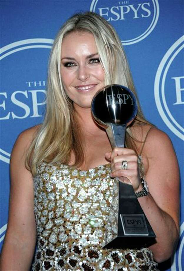 Lindsey Vonn poses backstage with her award for Best Female Athlete at the ESPY awards on Wednesday, July 13, 2011, in Los Angeles. (AP Photo/Dan Steinberg) Photo: Associated Press