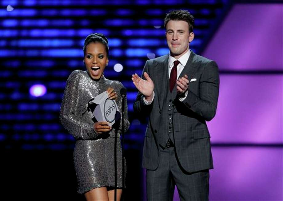 L to R, Kerry Washington and Chris Evans present the award for Best Male Athlete at the ESPY Awards on Wednesday, July 13, 2011, in Los Angeles. (AP Photo/Matt Sayles) Photo: Associated Press