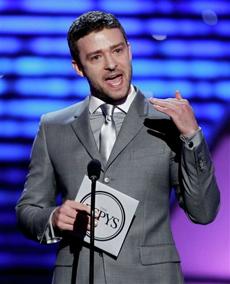 Justin Timberlake presents the award for Best Male College Athlete at the ESPY Awards on Wednesday, July 13, 2011, in Los Angeles. (AP Photo/Matt Sayles) Photo: Associated Press