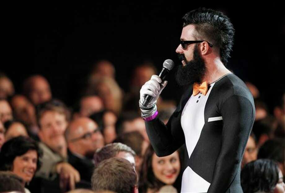 San Francisco Giants pitcher Brian Wilson speaks during the ESPY Awards on Wednesday, July 13, 2011, in Los Angeles. (AP Photo/Matt Sayles) Photo: Associated Press