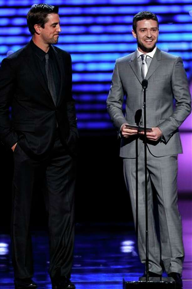 Justin Timberlake and Aaron Rodgers present the award for best male college athlete at the ESPY Awards on Wednesday, July 13, 2011, in Los Angeles. (AP Photo/Matt Sayles) Photo: Associated Press