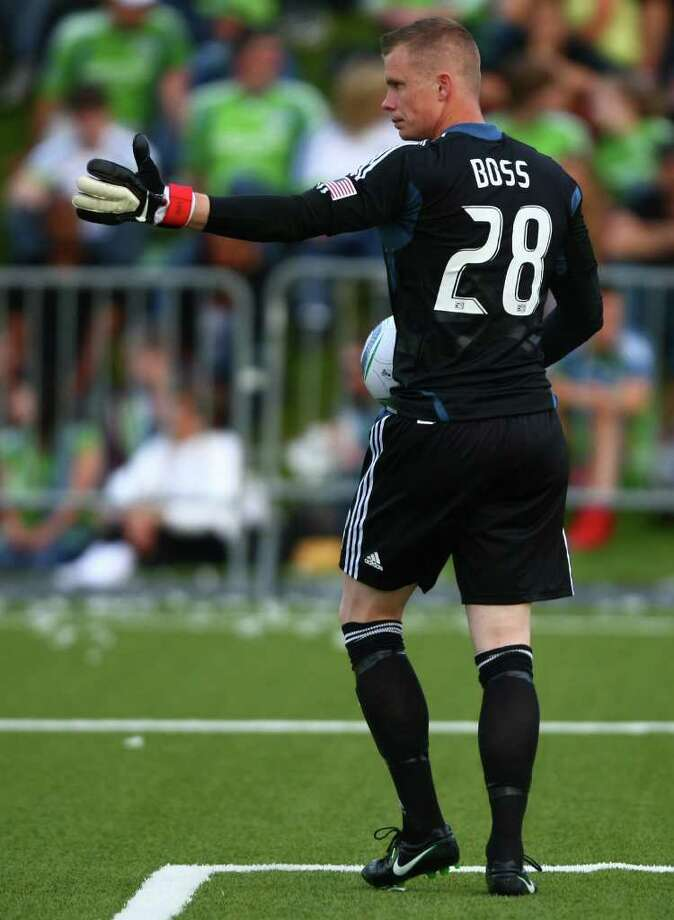 Seattle Sounders goalie Terry Boss prepares to kick the ball downfield against the Los Angeles Galaxy during the first half of a U.S. Open Cup quarterfinal match at Starfire Sports Complex in Tukwila on Wednesday, July 13, 2011. The Sounders defeated the Galaxy 3-1. Photo: JOSHUA TRUJILLO / SEATTLEPI.COM