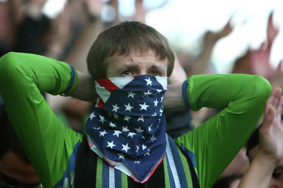 A Seattle Sounders fan wears a bandana during a game against the Los Angeles Galaxy at Starfire Sports Complex in Tukwila on Wednesday, July 13, 2011. The Sounders defeated the Galaxy 3-1. Photo: JOSHUA TRUJILLO / SEATTLEPI.COM