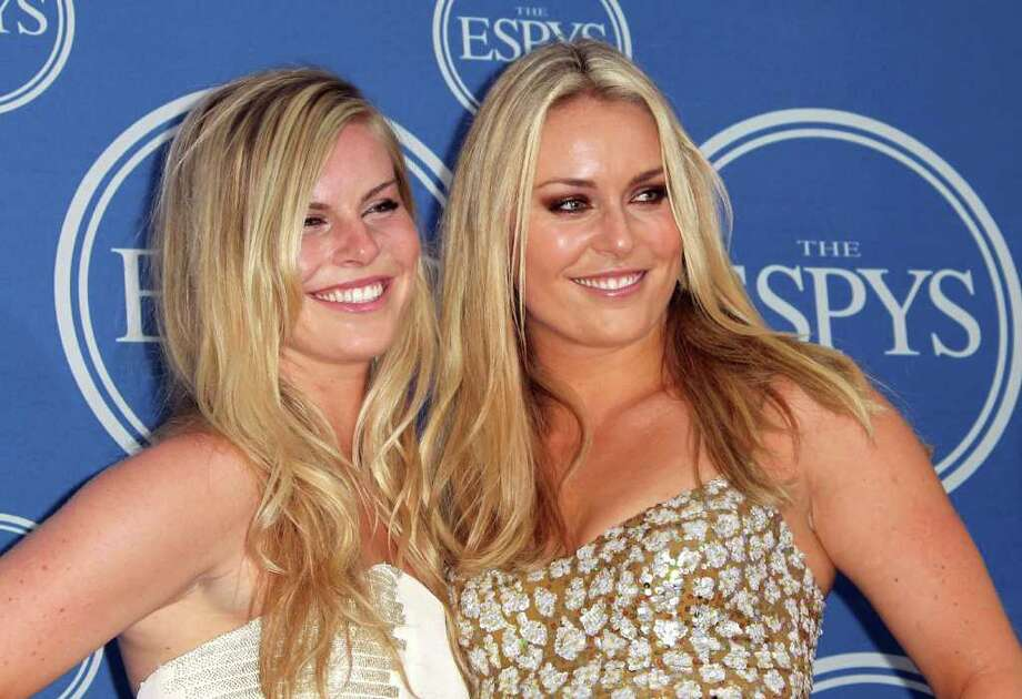 Olympic downhill skier Lindsey Vonn, right, and sister Karin pose in the press room after Vonn won the ESPY for Best Female Athlete at The 2011 ESPY Awards at Nokia Theatre L.A. Live on July 13, 2011 in Los Angeles, California. Photo: Frederick M. Brown, Getty Images / 2011 Getty Images