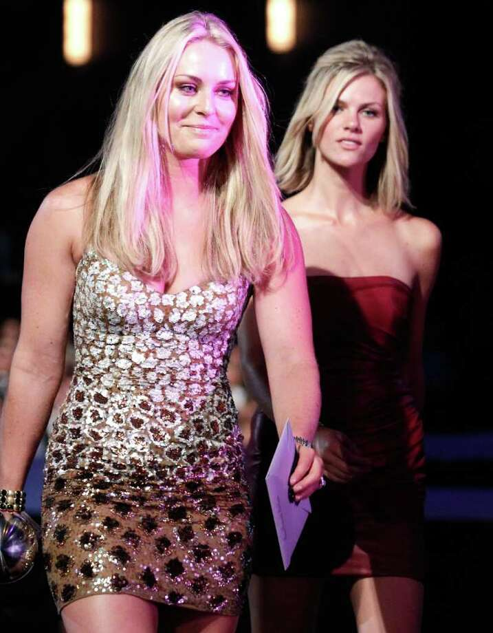 LOS ANGELES, CA - JULY 13:  (L-R) Olympic downhill skier Lindsey Vonn and actress/model Brooklyn Decker backstage after Vonn won the ESPY for Best Female Athlete at The 2011 ESPY Awards at Nokia Theatre L.A. Live on July 13, 2011 in Los Angeles, California. Photo: Christopher Polk, Getty Images For ESPN / 2011 Getty Images
